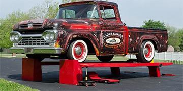 A classic truck on the Kwik-Lift