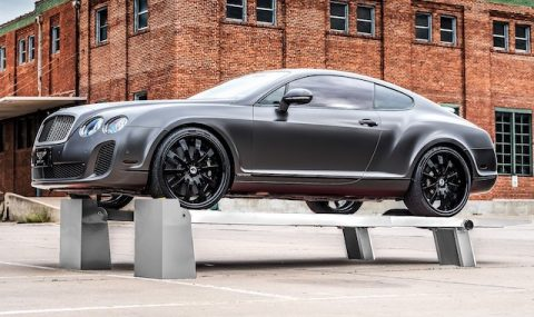 Luxury car on lift